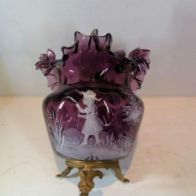 mary gregory | face vase verre émaillée Epoque XIXème siècle | brocante Castres