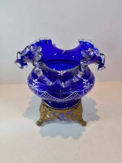 vue du Vase verre émaillé bleu cobalt | Epoque XIXème | brocante | Castres | brocante en ligne