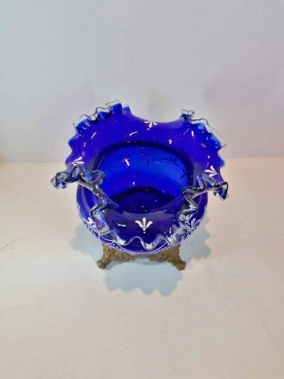 vue du haut du Vase verre émaillé bleu cobalt | Epoque XIXème | brocante | Castres | brocante en ligne | vintage French Art