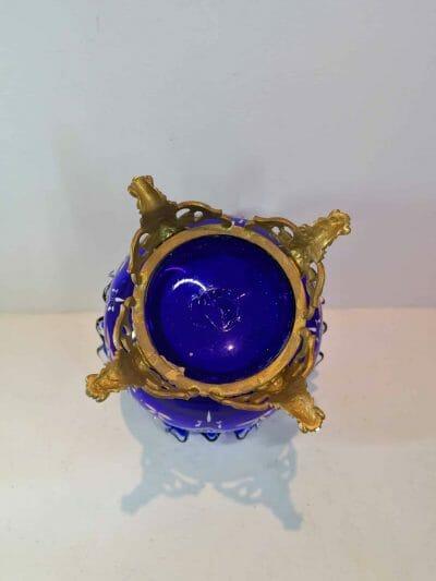 vue de dessous du Vase verre émaillé bleu cobalt | Epoque XIXème | brocante | Castres | brocante en ligne | vintage French Art