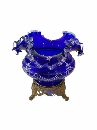 Vase verre émaillé bleu cobalt | Epoque XIXème | brocante | Castres | brocante en ligne