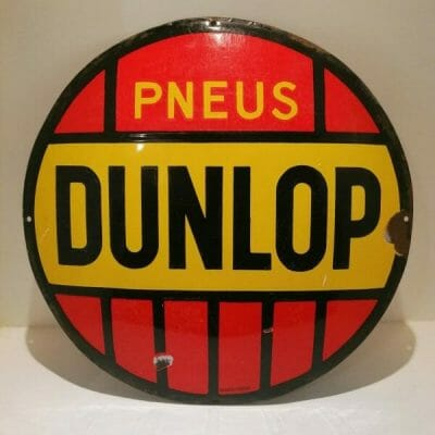 Face authentique ancienne plaque émaillée publicitaire Dunlop | brocante en ligne