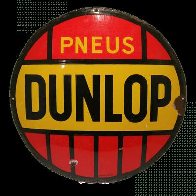 Face ancienne plaque émaillée publicitaire Dunlop | brocante en ligne